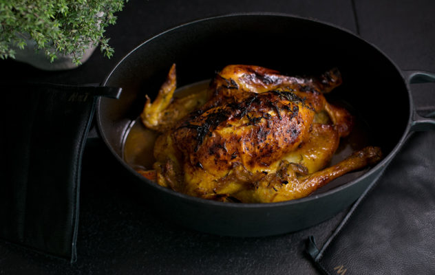Roast Chicken with Lemon, Ginger and Mustard Sauce