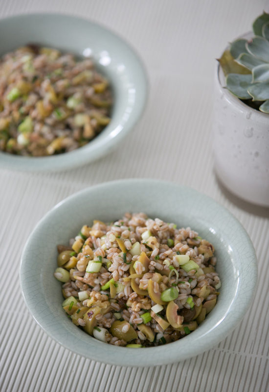 Barley Salad with green olives and toasted walnuts