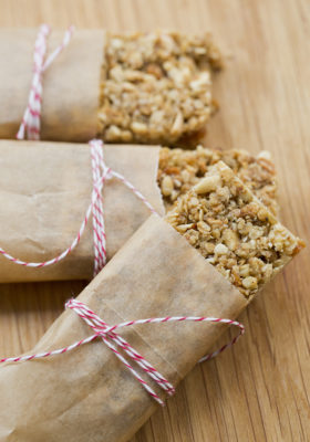 Healthy granola bars with dried fruit and nuts