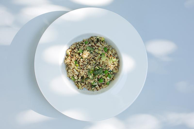 Lemon Herb Quinoa with Spring Peas, Avocado and Basil