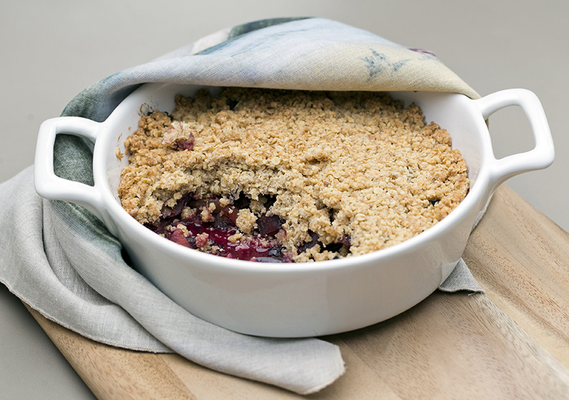 Plum Lime and ginger crumble