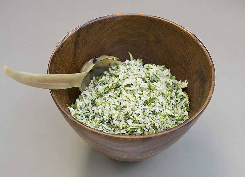 Fresh green white rice salad