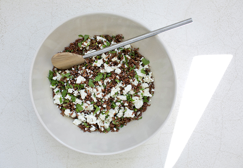 Camargue red Rice Salad with Feta Cheese - Sandra Loves
