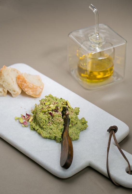 Pistachio and arugula hummus