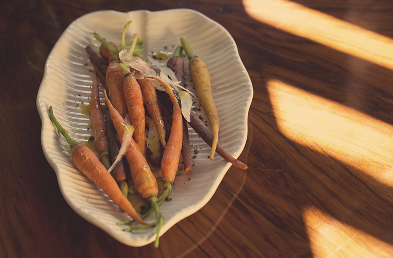 Baby carrots with truffle vinaigrette
