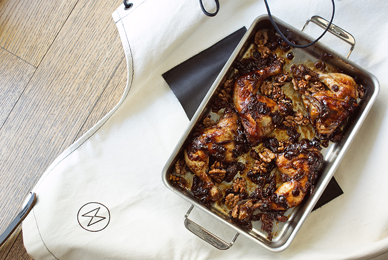 Fig-Braised Chicken & Spiced Walnuts and Figs