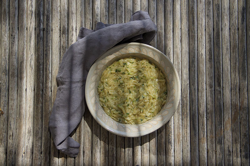 Orzo Pasta with Courgette, Lemon & Parsley